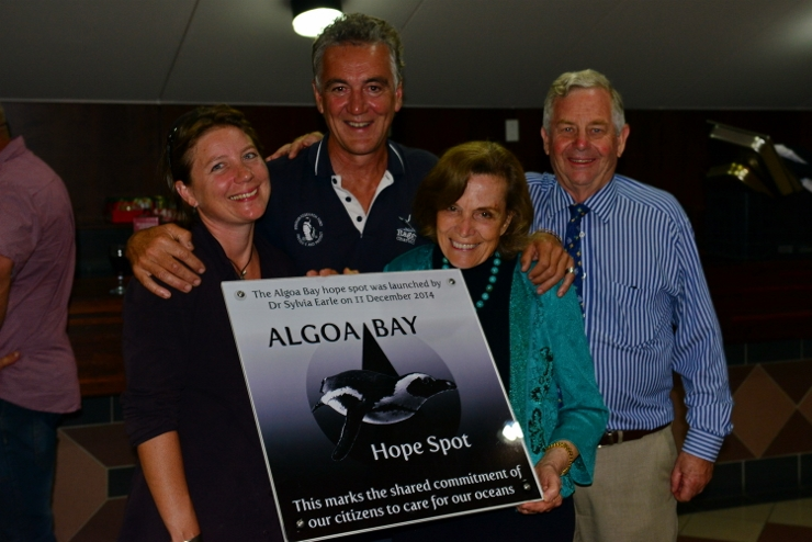 Raggy Charters owners Lloyd Edwards and Dr Lorien Pichegru with Dr Sylvia Earle and Tony Ribbink celebrating the launch