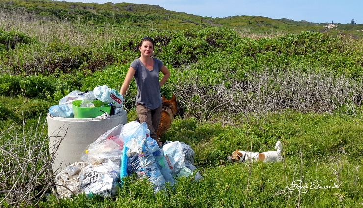 Dr Lorien Pichegru (Algoa Bay Hope Spot Committee Chair) with Collected Rubbish