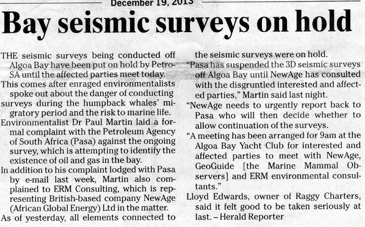Seismic Survey's On Hold