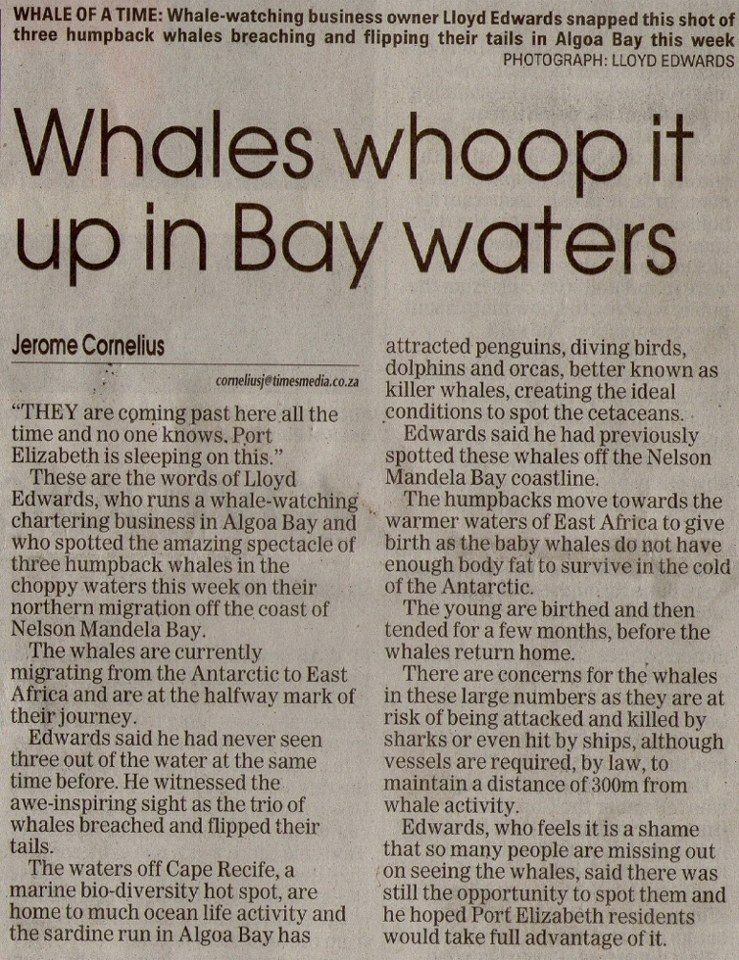 Raggy Charters Article in Weekend Post